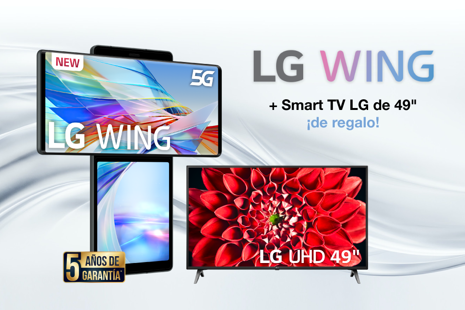 LG Wing + Smart TV LG de 49″ ¡de regalo!